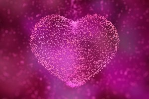Happy Valentines Day. heart of glowing particles. 3d illustration.