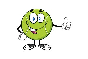 Cute Tennis Ball Giving A Thumb Up