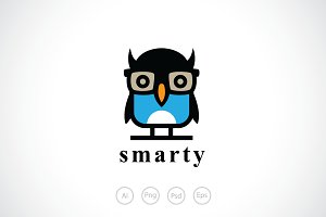 Smart Geek Owl Logo Template