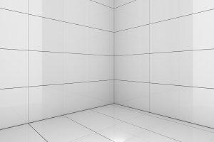 Tile white room, texture background, 3d render illustration
