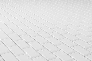 Tile white flooring, texture background, 3d render illustration