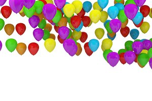Colorful party balloons background with white background for copy space