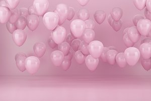 Pink party balloons background with pink background for valentine's day, 3d render