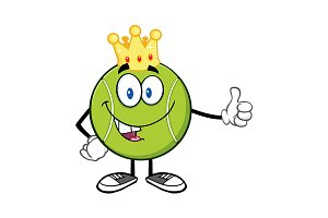 King Tennis Ball Cartoon Character
