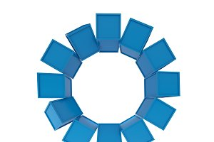 Blue cubes grouping on white background, 3d illustration