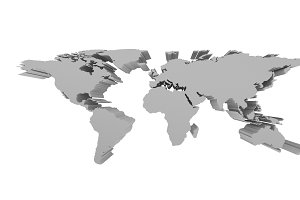 Grey Political World Map isolated on white,  3d perspective Illustration