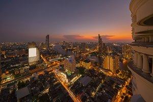 Taksin Bridge at Chao Phraya River in Bangkok City, Thailand.