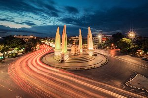 Moment of Democracy monument at Dusk, Bangkok City, Thailand