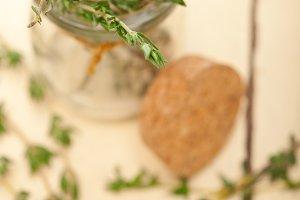 fresh thyme on a glass ja