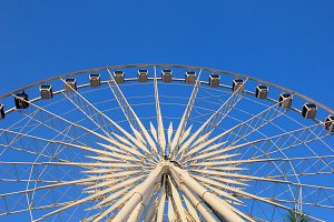 Ferris wheel with clear blue sky
