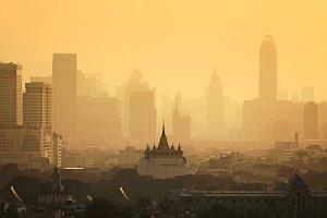 Golden Mount Fog, Bangkok, Thailand