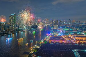 Fireworks at Asiatique The Riverfront, Bangkok, Thailand