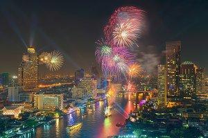 Fireworks' Bangkok New Year 2016, Thailand