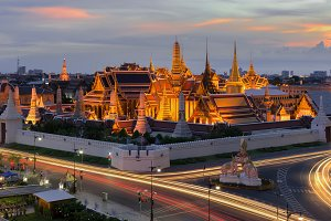 The Emerald Buddha at Sunset, Bangkok, Thailand