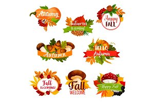 Autumn vector icon of fall leaf, pumpkin, acorn