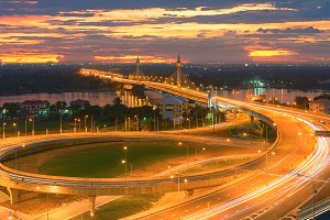 Nonthaburi Bridge at sunset, Thailand