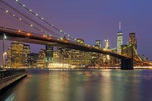 Brooklyn Bridge at dawn, New York, USA