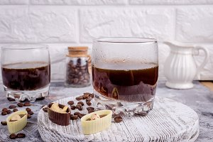glasses of hot coffee with chocolate