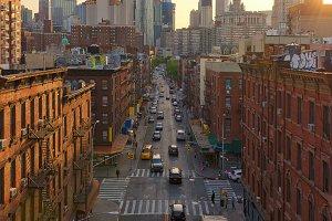 Chinatown at sunset, New York, USA