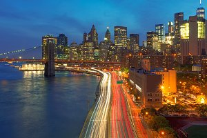 Cityscape of New York City at dusk, USA