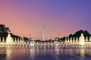 Washington DC Monuments, fountains, USA