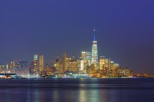 Skyline of New York City at night, USA