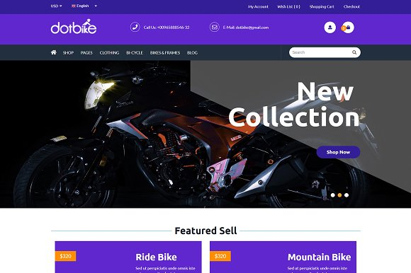 DotBike ECommerce WordPress Theme
