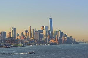 Skyline of New York City at sunrise, USA