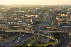 Skyline of Dallas, Highways, Texas, USA