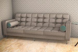 white sofa with blue pattern 3d illustration on parquet floor