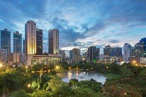 Benjasiri Park at sunset , Bangkok, Thailand