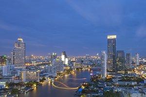 Skyscrapers at Chao Phraya River, Bangkok, Thailand