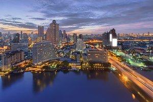 Downtown Bangkok at Chao Phraya River, Thailand