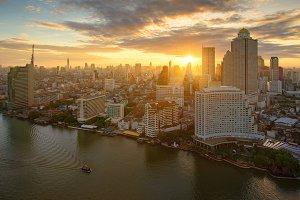 The Sun over Chao Phraya River, Bangkok, Thailand