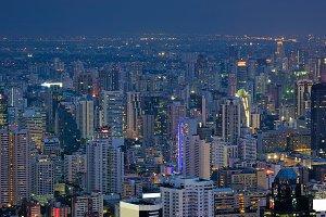 City of Bangkok at night, Thailand