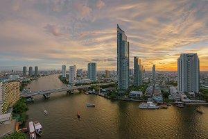 Chao Phraya River at sunset, Bangkok, Thailand