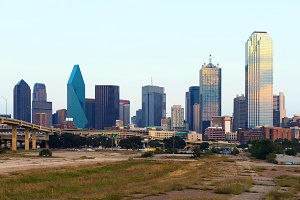 Skyscrapers in Dallas city, downtown,  Texas, USA