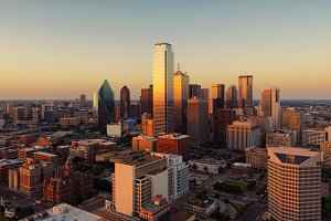 Dallas, Texas cityscape at sunset, USA