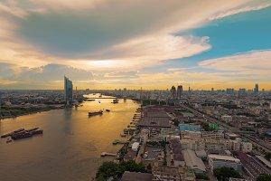 Rama 9 Bridge over the Chao Phraya river at Sunset, Bangkok, Thailand