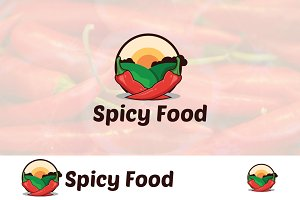 Red Chili Spicy Food Meal Logo