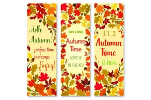 Autumn season and fall nature banner set design