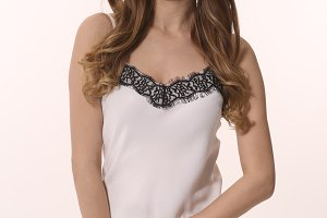 lace summer tank top black and white on woman young model