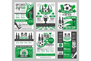 Vector soccer sports bar football pub menu posters