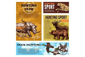 Vector hunting club open season sketch posters