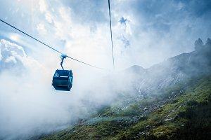 Cable car in mountain a foggy day