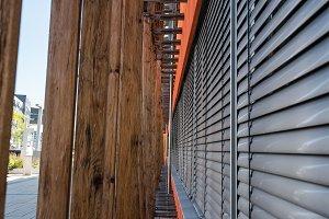 Wooden profiles lattice in modern architecture building