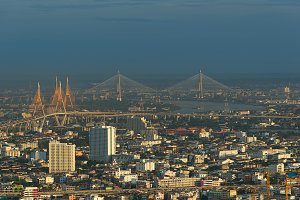 Bridges in Bangkok, Bhumibol Bridge, Bangkok, Thailand