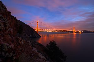 Golden Gate Bridge, San Francisco Skyline, Downtown San Francisco, California, USA
