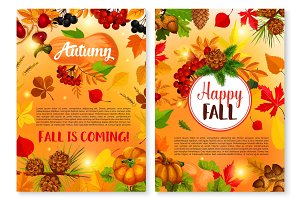 Autumn leaf fall season vector greeting cards