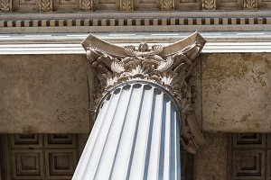 Low angle view of corinthian capital of classical style column